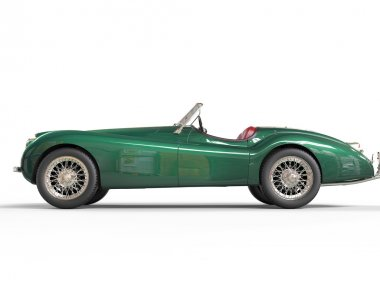 Green old-timer car on white background
