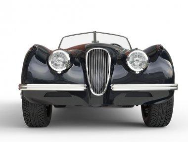 Black vintage car shot on white background - front view