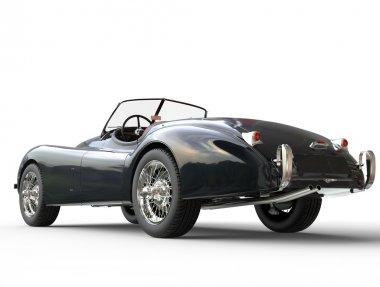 Black vintage car shot on white background - back view