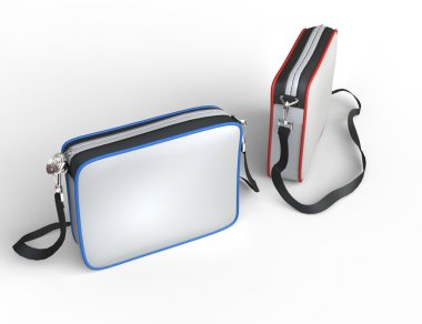 White pocket wallets with red and blue bordering - top view