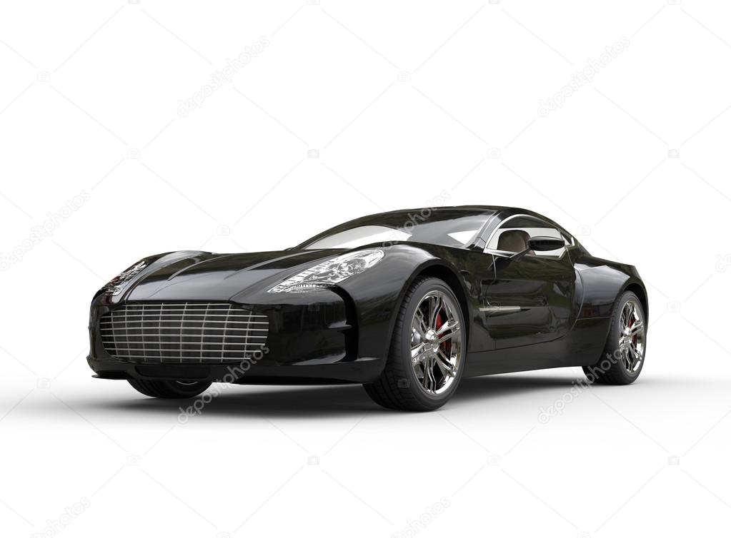 Beautiful Black Luxury Sports Car On White Background U2014 Stock Photo