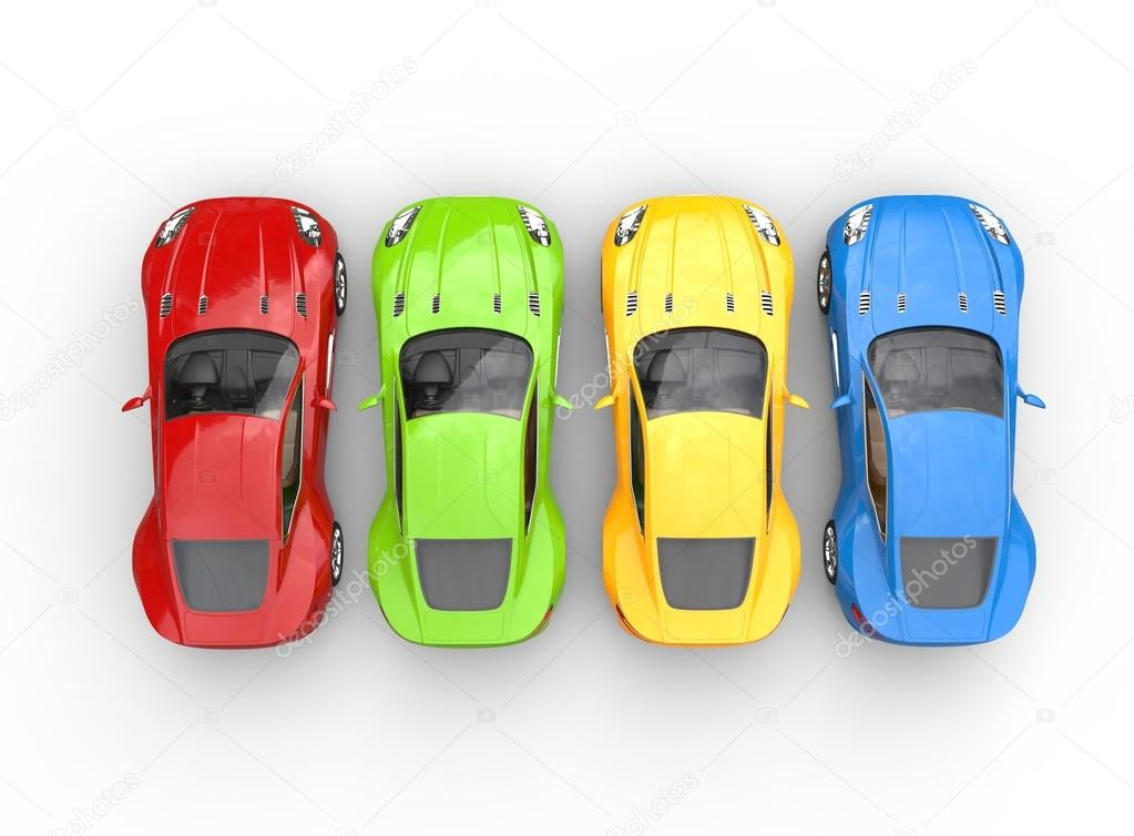 Top View On Row Of Multicolored Cars On White Background Stock