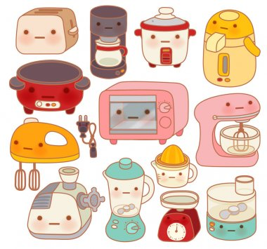 Set of adorable kitchen appliances , cute kettle , lovely oven , sweet blender isolated on white in chlildlike doodle style