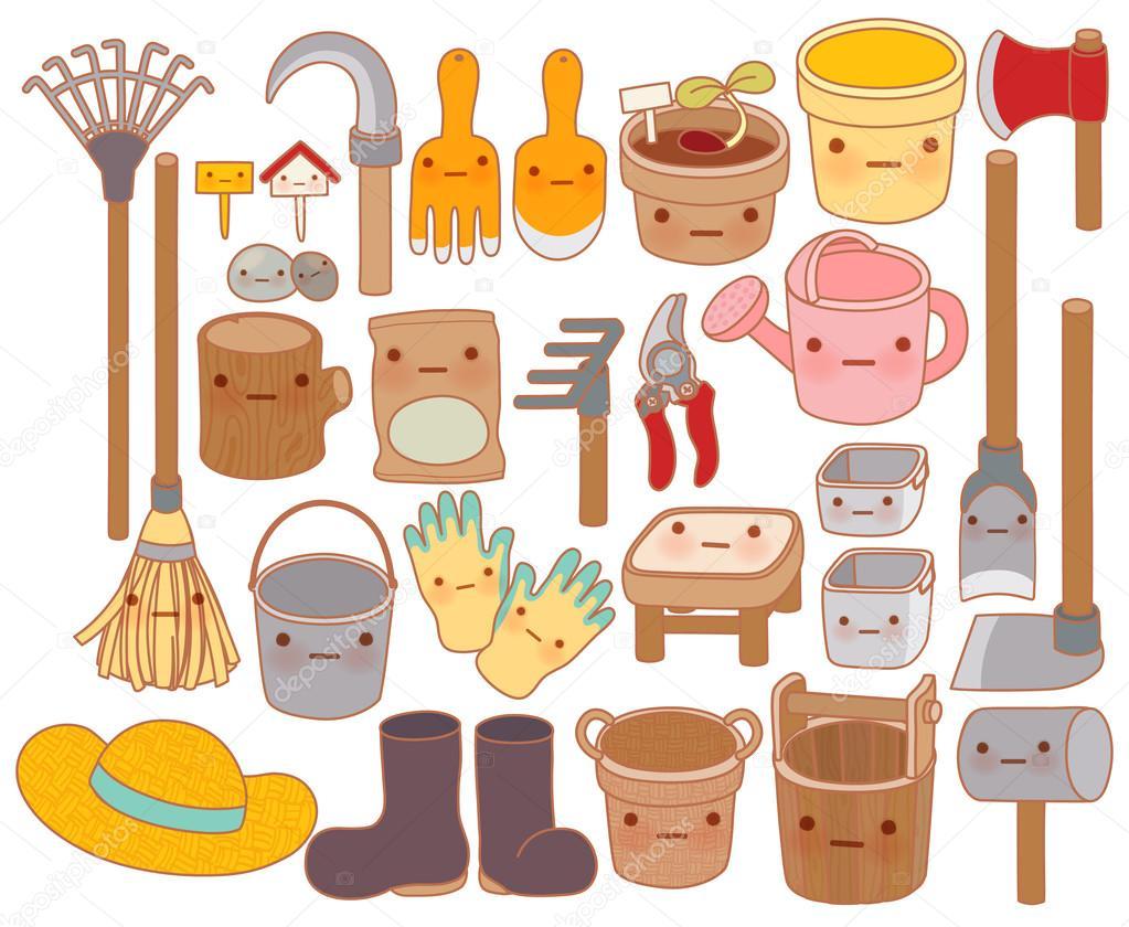 Set of adorable garden tools cartoon , cute rubber boots , sweet
