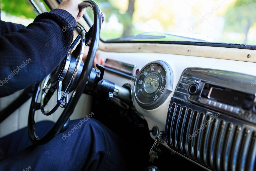 Interior part, dashboard of an old Soviet classic car Pobeda ...