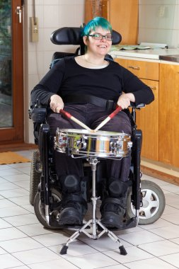 Woman with infantile cerebral palsy