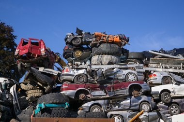 Scrap yard for obsolete motor cars