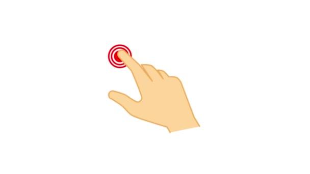 Animace ruky je kliknutí na ikonu dotykového zařízení. Izolováno na bílém pozadí.