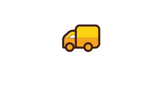 Animation of truck delivery icon. Isolated on white background.