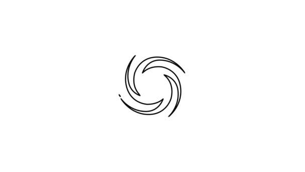 Animation der Hurrikan-Linie. Isoliert auf weißem Hintergrund.