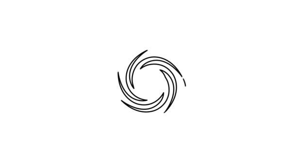 Hurricane animated line icon. Isolated on white background.
