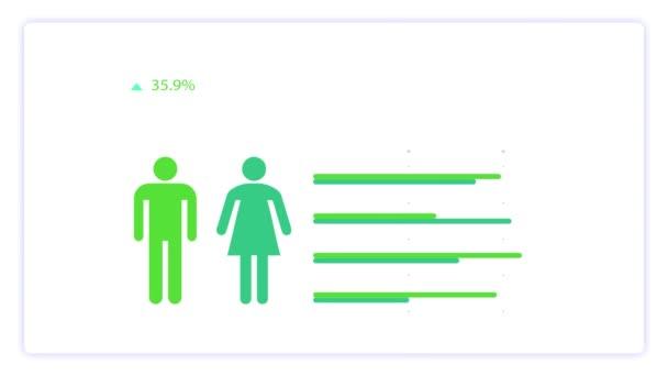 Male-female icon. Animation of gender ratio. Isolated on white background.