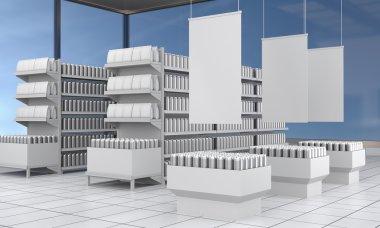 set of supermarket shelves