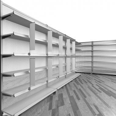 set of empty shelves
