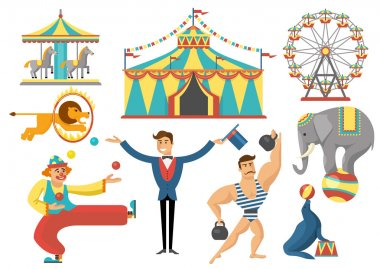 Circus Decorative Flat Icons Set