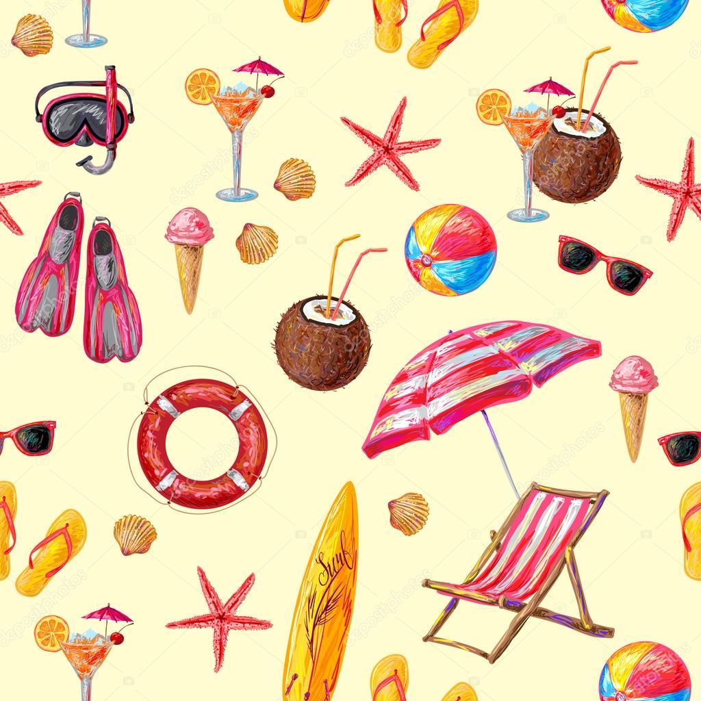 objetos de praia e esporte padrão vetores de stock mogil 109360296