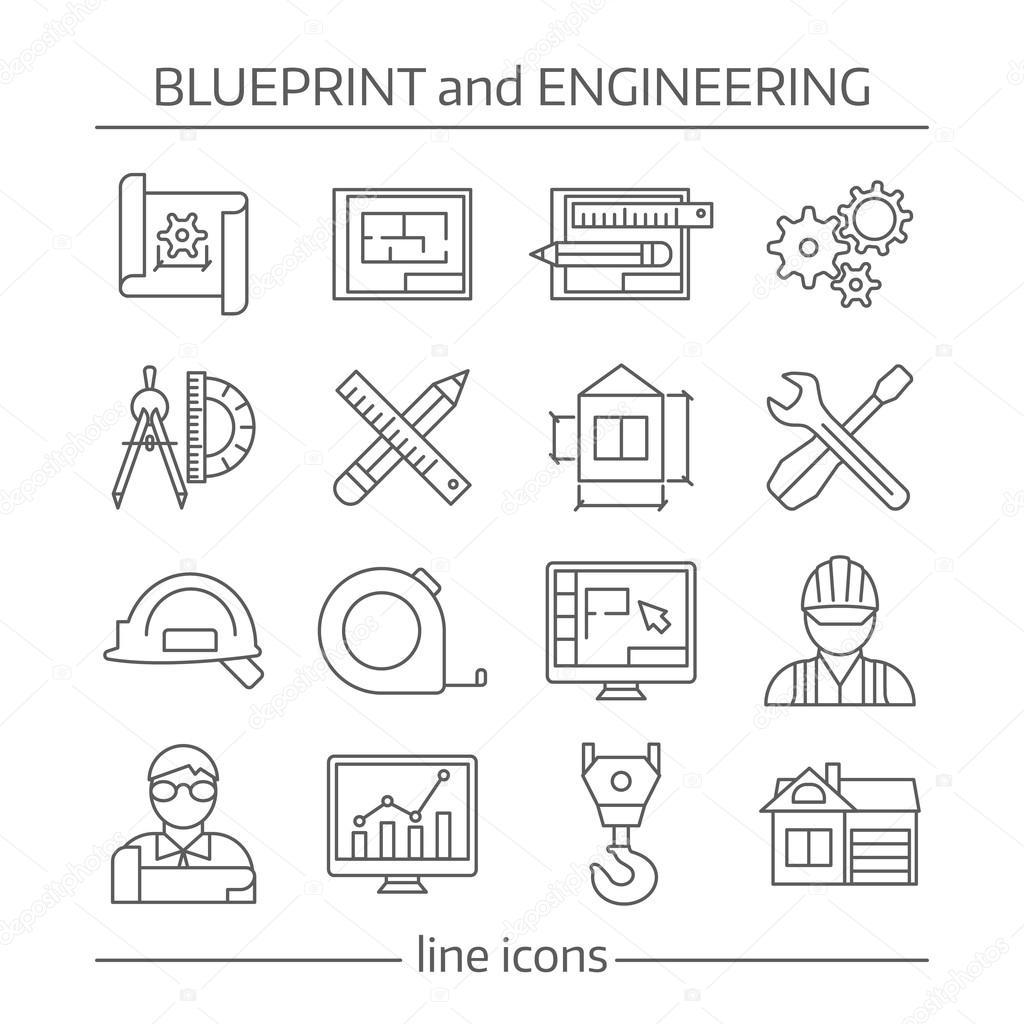 Blueprint and engineering linear icons set stock vector mogil blueprint and engineering linear icons set with gears computer programs crane tools drafts schemes isolated vector illustration vector by mogil malvernweather Choice Image