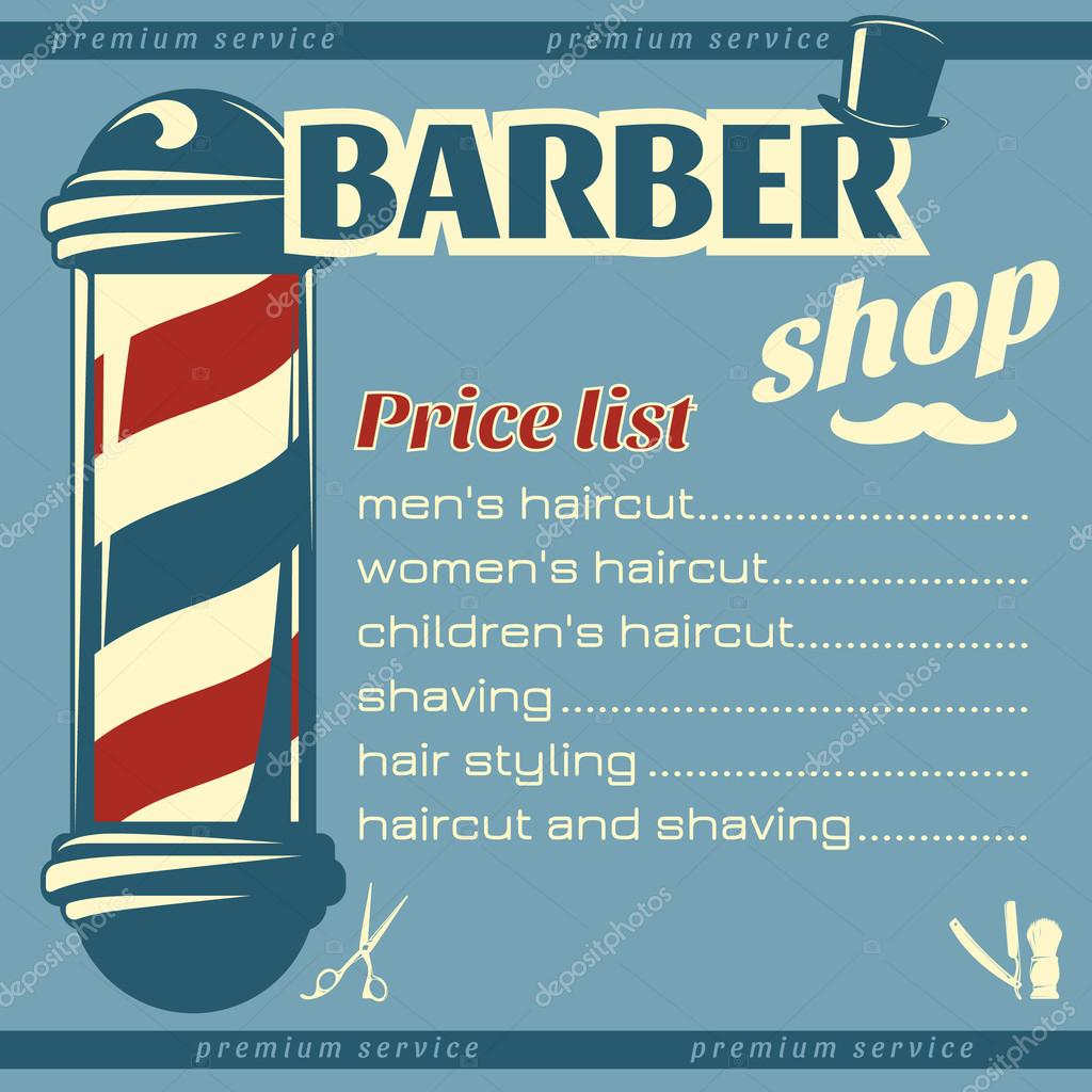 Barbershop Price List Template — Stock Vector © Mogil #110229112
