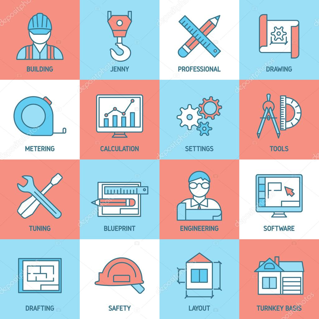 Engineering and blueprint icons set stock vector mogil 110746706 engineering and blueprint icons set with safety tuning software meter building drafts calculation crane isolated vector illustration vector by mogil malvernweather Image collections