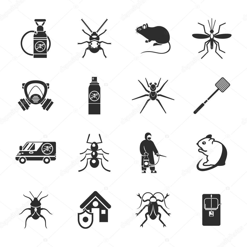 Pest Control Black White Icons Set