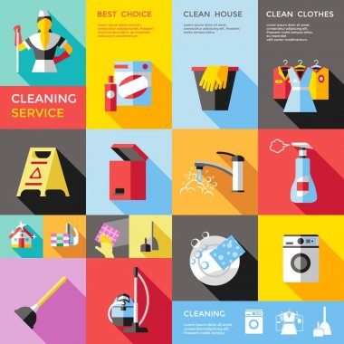 Cleaning Service Decorative Flat Icons Set