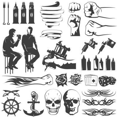 Tattoo Black White Icons Set
