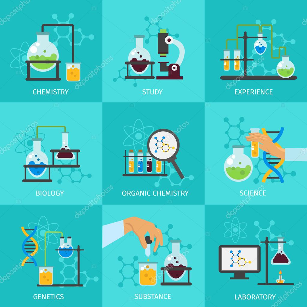 chemical experimental icon set stock vector mogil 113415776