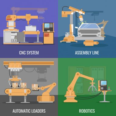 Automated Assembly Icon Set
