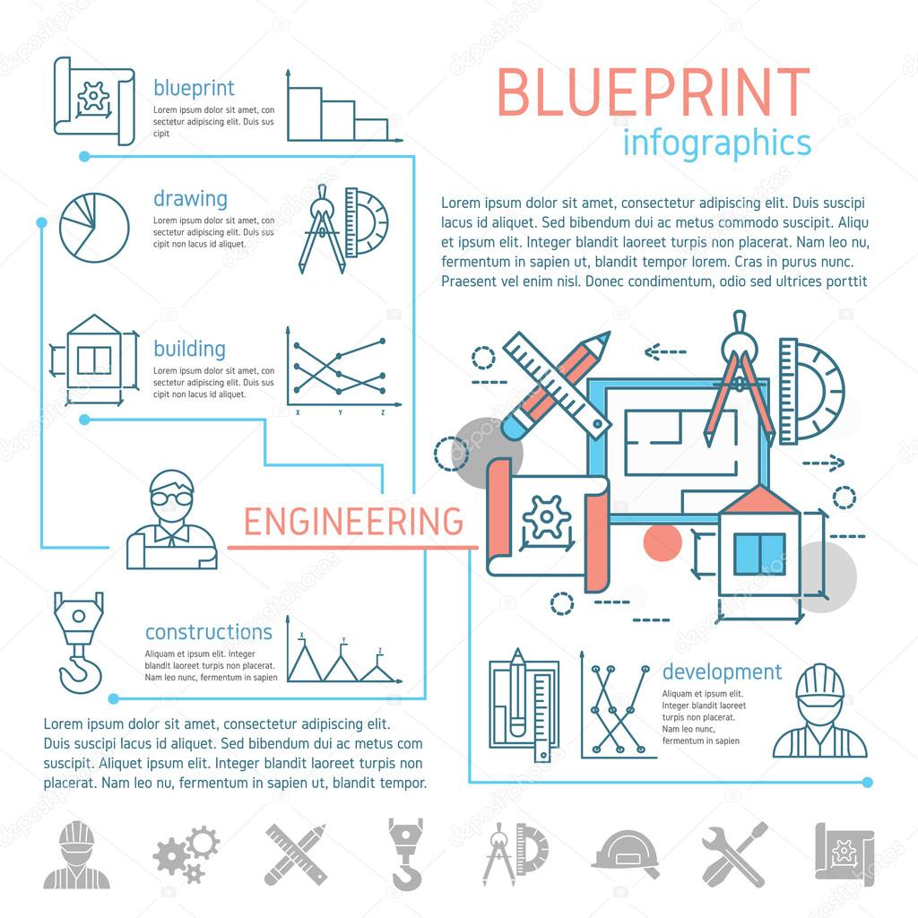 Blueprint and engineering linear infographics vector de stock blueprint and engineering linear infographics vector de stock malvernweather Choice Image