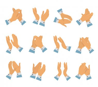 Clapping Hands Flat Icon Set