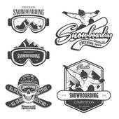 Set von Snowboard-Emblemen, Etiketten und gestalteten Elementen. Set 2