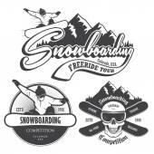 Sada snowboarding emblémy, popisky a řešené prvky