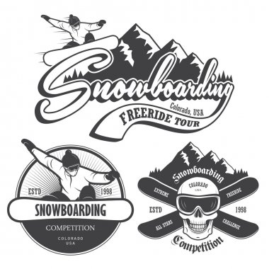 Set of snowboarding emblems, labels and designed elements. Extreme theme, winteg games, outdoors adventure. stock vector