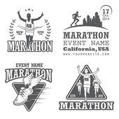Fotografia Set di esecuzione di maratona e jogging emblemi, etichette e distintivi