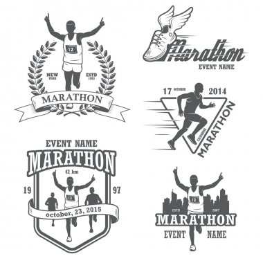 Set of running marathon and jogging emblems, labels and badges