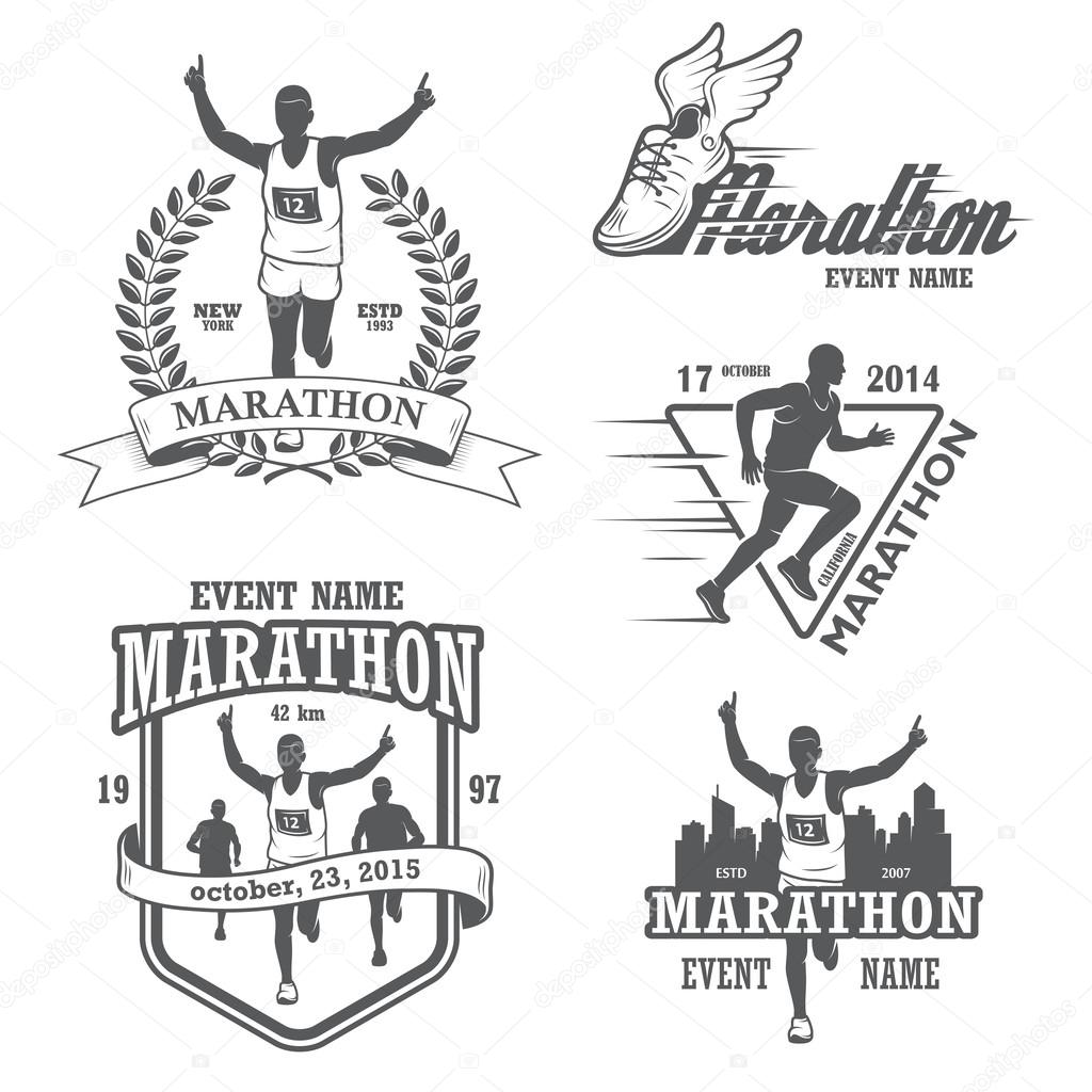 Set of running marathon and jogging emblems, labels and badges