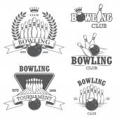 Sada černé a bílé izolované bowling emblémy, štítky, odznaky