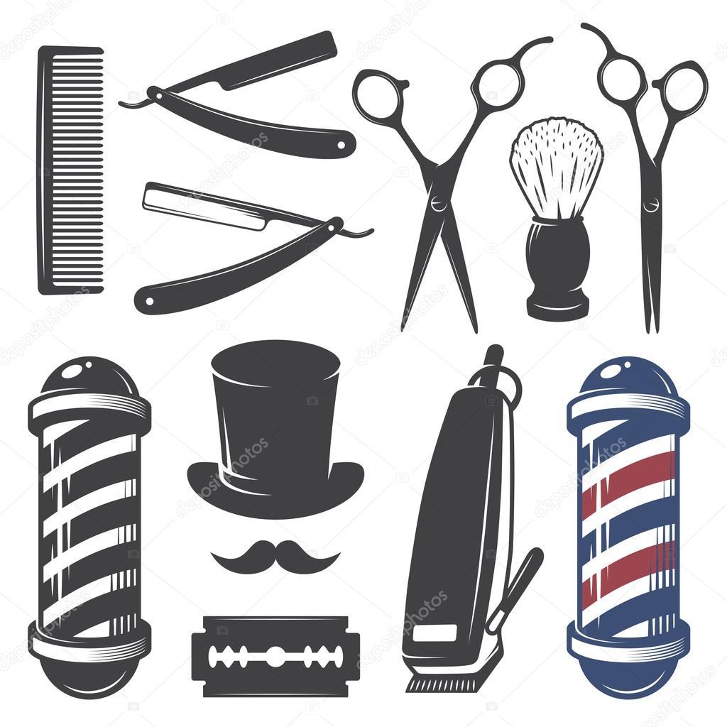 Set of vintage barber shop elements.