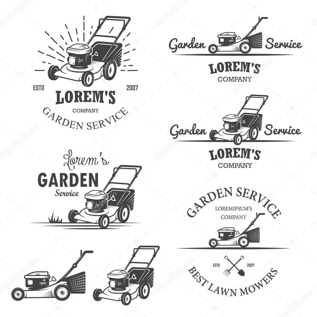 Set of vintage garden service emblems.