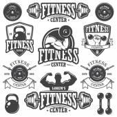 Photo Set of monochrome fitnes emblems