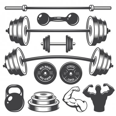 Set of vintage fitness designed elements