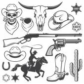 Fotografie Set of wild west cowboy designed elements