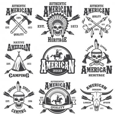 Set of american indian emblems
