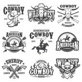 Fotografie Set of vintage cowboy emblems