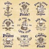 Fotografie Sada vinobraní ručně tažené piráti navržen emblémy, štítky, loga