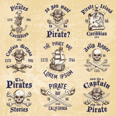 Set of vintage hand drawn pirates designed emblems, labels, logos