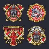 Satz von Feuerwehrmann Embleme