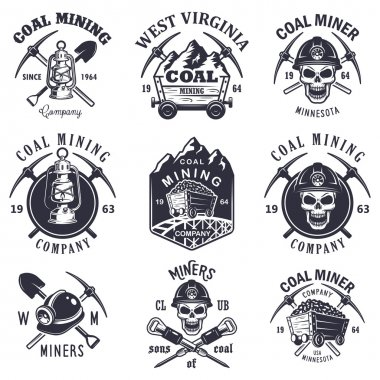 Set of vintage coal mining emblems, labels, badges, logos. Monochrome style stock vector