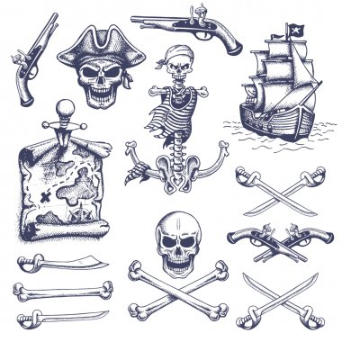 Set of vintage hand drawn pirates designed elements