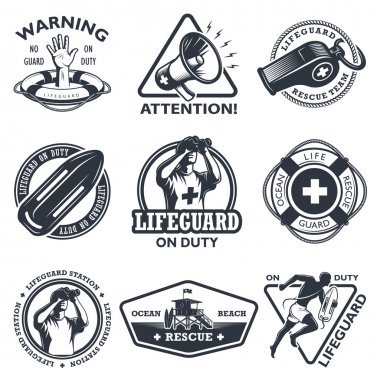 Set of vintage lifeguard emblems